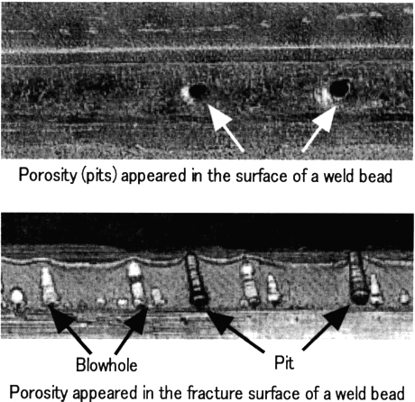 Figure 2. Typical linear porosity occurring in a fillet weld of primer-coated steel plates in gas metal arc welding