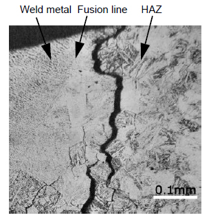 Figure 1: Typical SR cracks occurring in a 780-MPa high tensile strength steel weld (PWHT: 600°C × 2 h) [Ref.1]