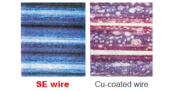 Figure 8: SE wire exhibits excellent corrosion resistance in an accelerated corrosion test (10%NaCl solution spray, 30°C×80%RH, 2 hrs) in comparison with Cu-coated wire