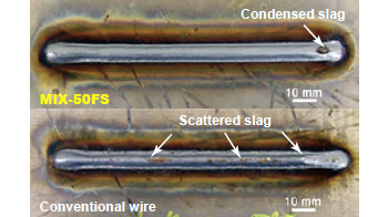 Figure 12: A condensed slag spot with MIX-50FS is easier to remove over scattered slag with conventional wire.