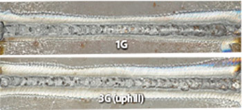 Figure 11: Back bead appearances of weld metal in 1G and 3G (uphill) position