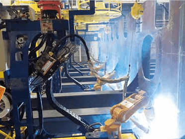 Figure 6-2: Actual welding operation with ARCMAN™ A30S at hull assembly