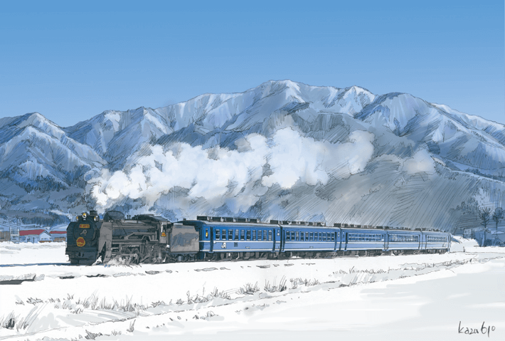A steam locomotive chugging through snow-covered fields